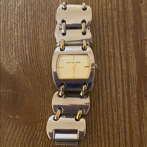 Michael Kors silver and gold metal chain watch